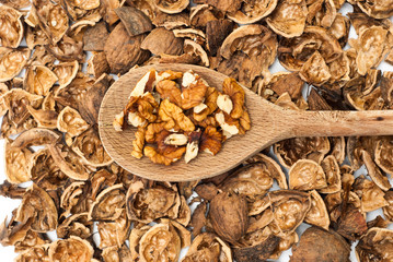 Walnuts on the wooden spoon