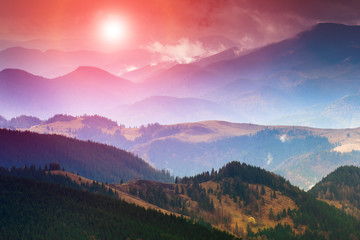 Colorful sunset in the mountains landscape.