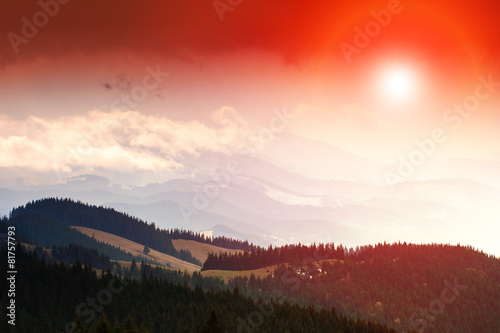 Colorful sunset in the mountains landscape. - 81757793