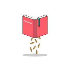 Isolated cartoon knowledge book to earn money