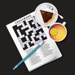illustration of crossword game, mug of tea and pie