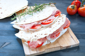 Original Piadina with ham mozzarella and tomato
