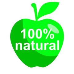 Icono texto 100% natural en manzana verde