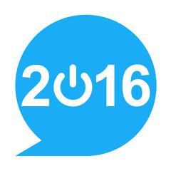 Icono texto 2016 simbolo start azul