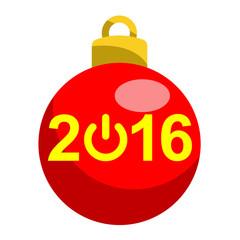 Icono texto 2016 simbolo start bola roja