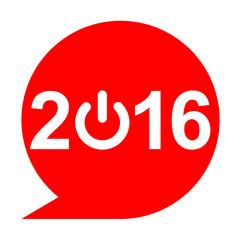 Icono texto 2016 simbolo start rojo