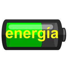 Icono texto energia en pila