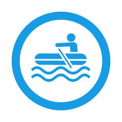 Icono redondo bote hinchable azul