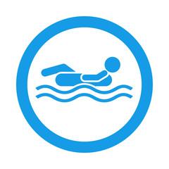 Icono redondo flotador azul