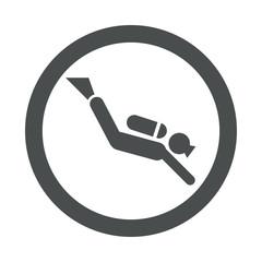 Icono redondo submarinista gris