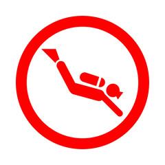 Icono redondo submarinista rojo