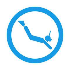 Icono redondo submarinista snorkel azul
