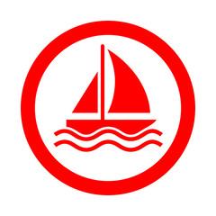 Icono redondo velero rojo