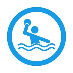 Icono redondo waterpolo azul