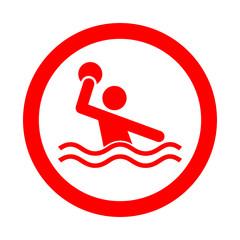 Icono redondo waterpolo rojo