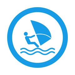 Icono redondo windsurf azul