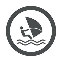 Icono redondo windsurf gris