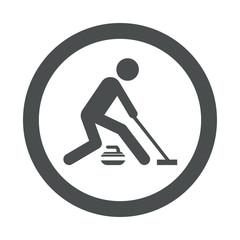 Icono redondo curling gris