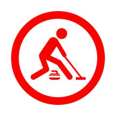 Icono redondo curling rojo