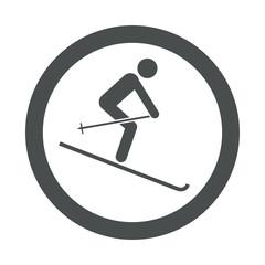 Icono redondo esqui gris