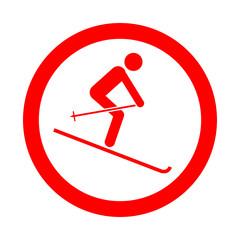 Icono redondo esqui rojo