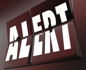 Alert Word Clock Flipping Tiles Reminder Alarm Urgent Emergency