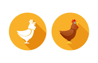 Set of Icons orange color with Chickens