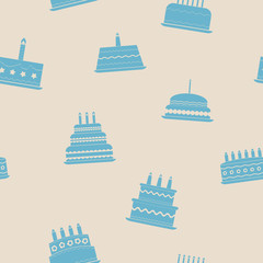 Seamless background with birthday cake for your design