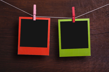 Red and green photo frames