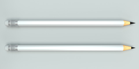 White pencils mockups on bright background