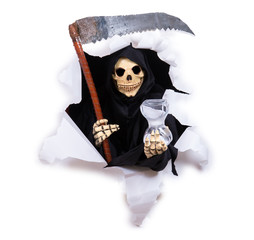 Grim Reaper holding hourglass and scythe