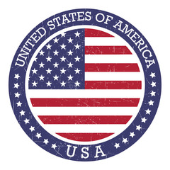 Grunge round stamp of United States of America - USA