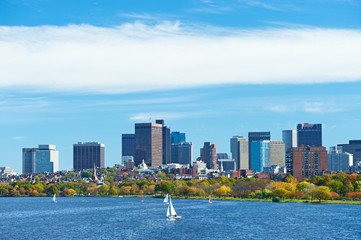 Boston and Charles river view from Harvard Bridge
