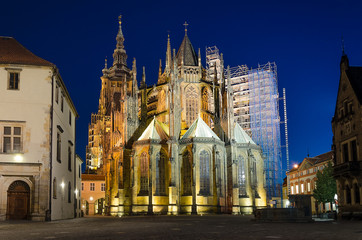 rear view of St. Vitus Cathedral at night