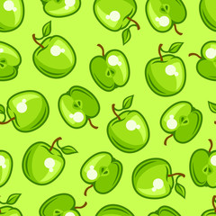 Seamless pattern with stylized fresh ripe apples