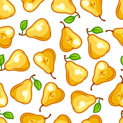 Seamless pattern with stylized fresh ripe pears