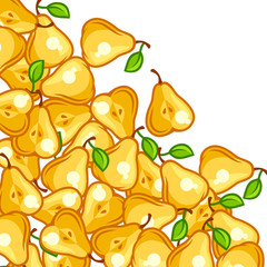 Background design with stylized fresh ripe pears
