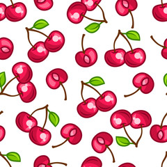 Seamless pattern with stylized fresh ripe cherries