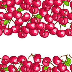Background design with stylized fresh ripe cherries