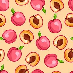 Seamless pattern with stylized fresh ripe peaches