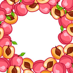Background design with stylized fresh ripe peaches