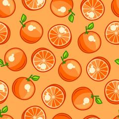 Seamless pattern with stylized fresh ripe oranges