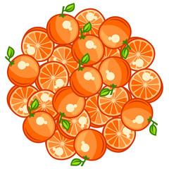 Background design with stylized fresh ripe oranges