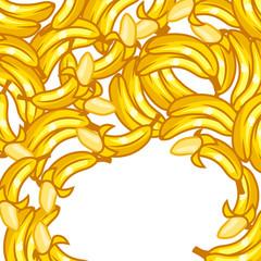 Background design with stylized fresh ripe bananas