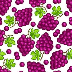 Seamless pattern with stylized fresh ripe grapes
