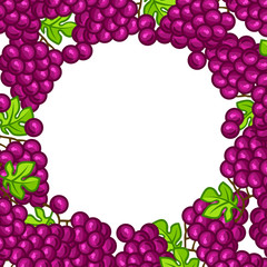 Background design with stylized fresh ripe grapes