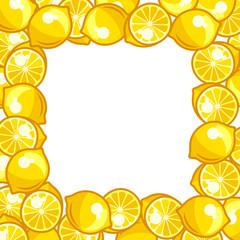 Background design with stylized fresh ripe lemons
