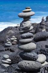 jardin minéral zen au bord de la mer, île de la Réunion