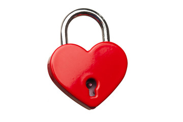 heart shaped closed lock, isolated on white