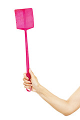 Woman hand holding a flyswatter on white background.